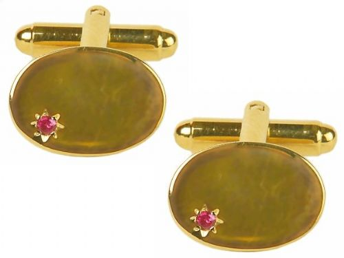 Real Ruby Oval Cufflinks Gold Plated